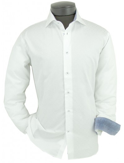 Canaletto Modern Fit Men's Dress Shirt - Made in Italy - White / Blue Squares