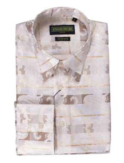 Men's Fashion Shirt by Inserch / Merc - Paisley Jacquard - Tan / Off White