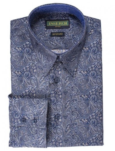 Men's Fashion Shirt by Inserch / Merc - Shiny Paisley Jacquard - Navy