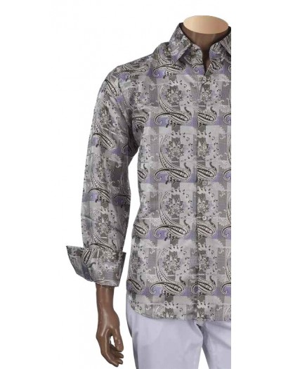 Men's Fashion Shirt by Inserch / Merc - Paisley Jacquard - Lilac