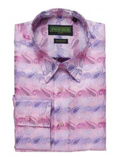 Men's Fashion Shirt by Inserch / Merc - Paisley Jacquard - Pink