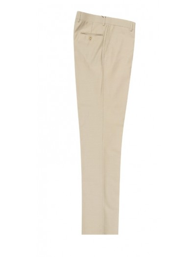 Men's Flat-Front Pants by Tiglio - Tan