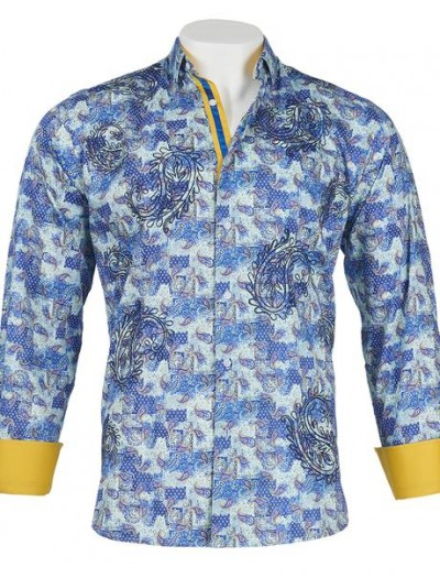Men's 100% Cotton Shirt by Inserch / Merc - Abstract Paisley / Turquoise