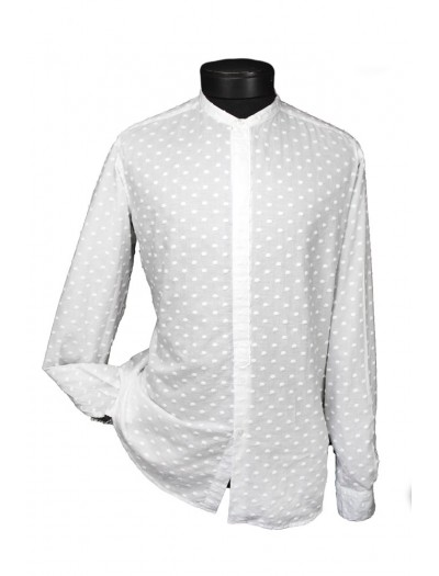 Giovanni Marquez Italian Cotton Shirt - White on White - Chantelle Dot