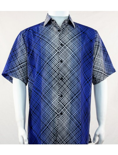 Bassiri S/S Button Down Men's Shirt - Blue / Plaid Pattern