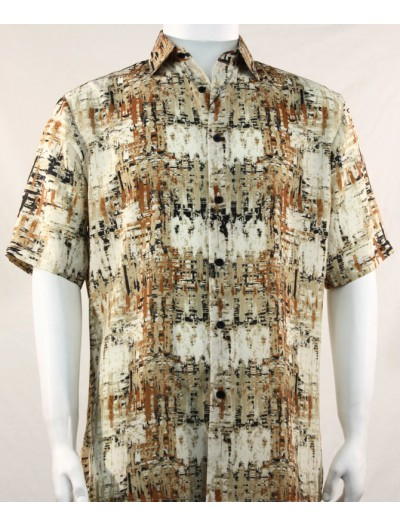 Bassiri S/S Button Down Men's Shirt - Brush Strokes Brown