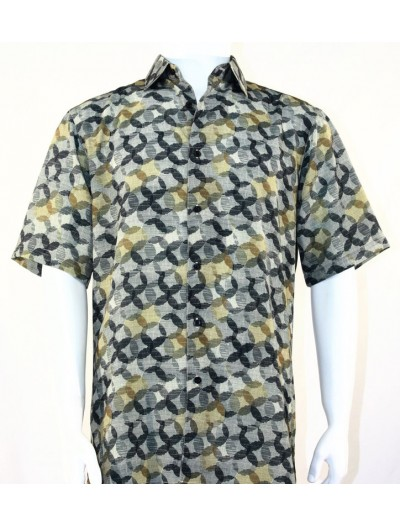 Bassiri S/S Button Down Men's Shirt - Circle Print Olive