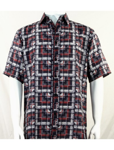 Bassiri S/S Button Down Men's Shirt - Greek Key / Red