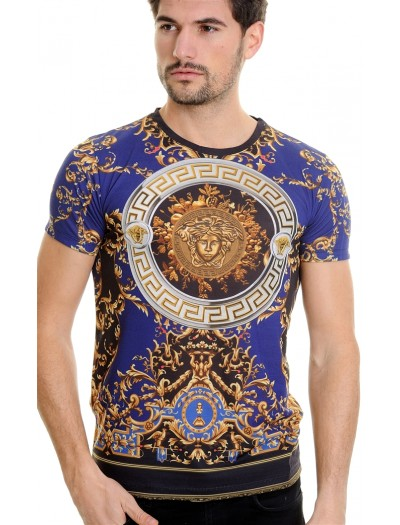 LCR Black Edition S/S Knit- Royal / Gold Abstract Pattern