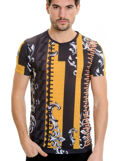 LCR Black Edition S/S Knit- Black / Yellow Abstract Pattern