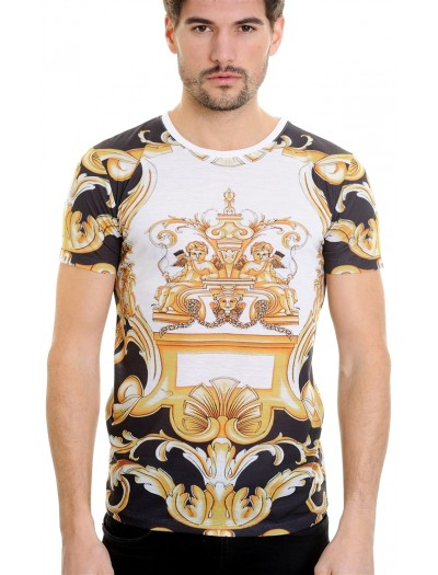 LCR Black Edition S/S Knit- Black / White / Gold Abstract Pattern