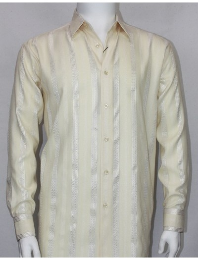 Bassiri L/S Button Down Men's Shirt - Cream Shadow Stripe