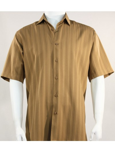 Bassiri S/S Button Down Men's Shirt - Shadow Stripe Lt Brown
