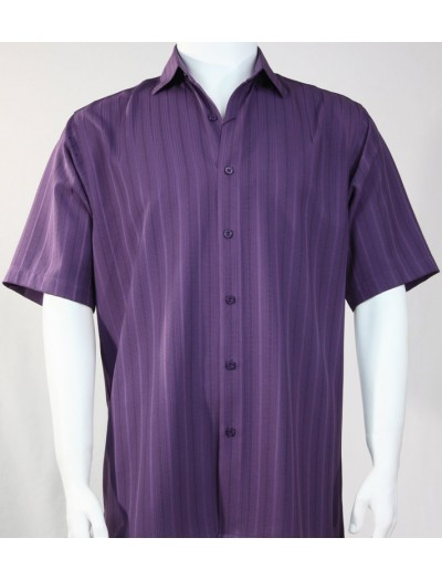 Bassiri S/S Button Down Men's Shirt - Shadow Stripe Purple