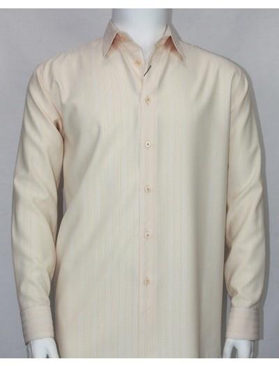 Bassiri L/S Button Down Men's Shirt - Cream Shadow Pinstripe