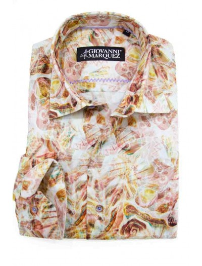 Giovanni Marquez Sport Shirt- Multicolor Tan