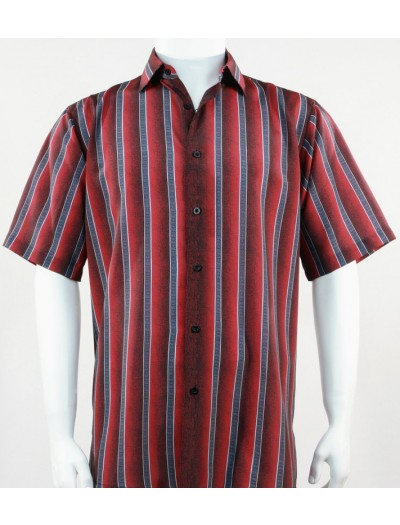 Bassiri S/S Button Down Men's Shirt - Varied Stripe / Red
