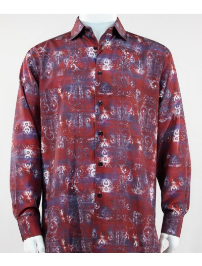 Bassiri L/S Button Down Men's Shirt - Plant Pattern Red *NEW*
