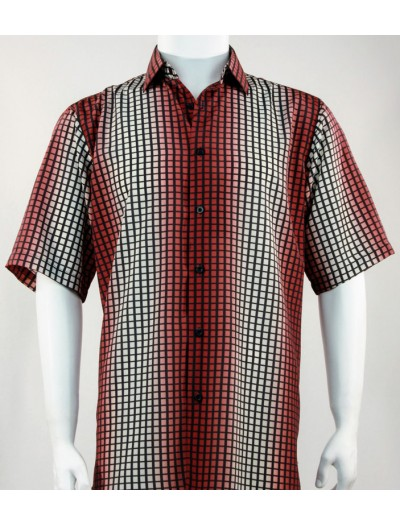 Bassiri S/S Button Down Men's Shirt - Strobe Check Red
