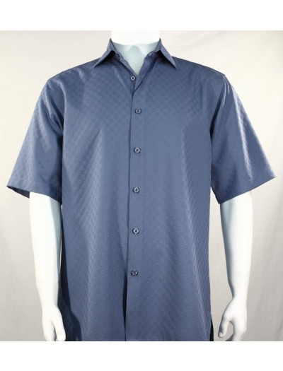 Bassiri S/S Button Down Men's Shirt - Shadow Squares Blue