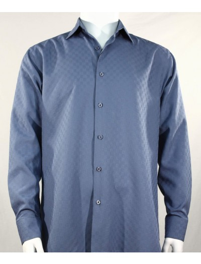 Bassiri L/S Button Down Men's Shirt - Shadow Squares Blue *NEW*