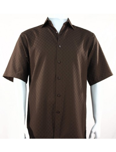 Bassiri S/S Button Down Men's Shirt - Shadow Squares Chocolate