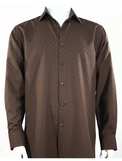 Bassiri L/S Button Down Men's Shirt - Shadow Squares Brown *NEW*