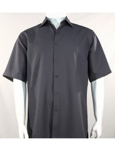 Bassiri S/S Button Down Men's Shirt - Shadow Squares Grey