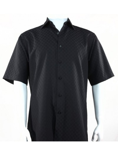 Bassiri S/S Button Down Men's Shirt - Shadow Squares Black