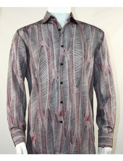 Bassiri L/S Button Down Men's Shirt - Oval Stripe Burgundy