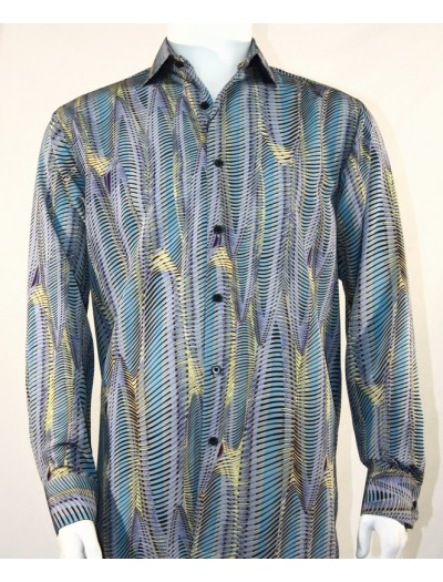 Bassiri L/S Button Down Men's Shirt - Oval Stripe Turquoise