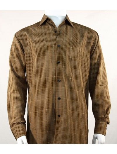 Bassiri L/S Button Down Men's Shirt - Squares Pattern Bronze