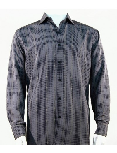 Bassiri L/S Button Down Men's Shirt - Squares Pattern Grey