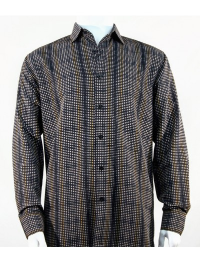 Bassiri L/S Button Down Men's Shirt - Squares Pattern Navy Gold