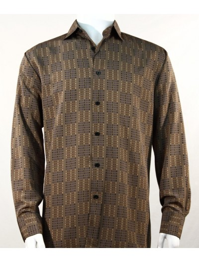Bassiri L/S Button Down Men's Shirt - Mini Dots Brown