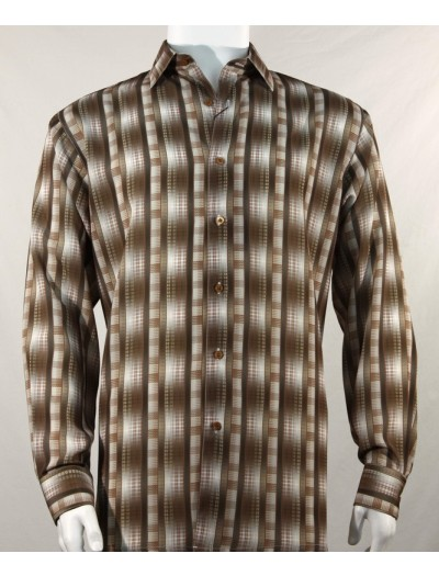 Bassiri L/S Button Down Men's Shirt - Pattern Stripe Brown