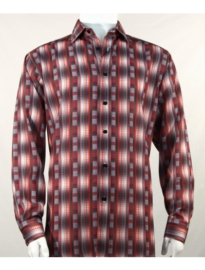 Bassiri L/S Button Down Men's Shirt - Pattern Stripe Burgundy