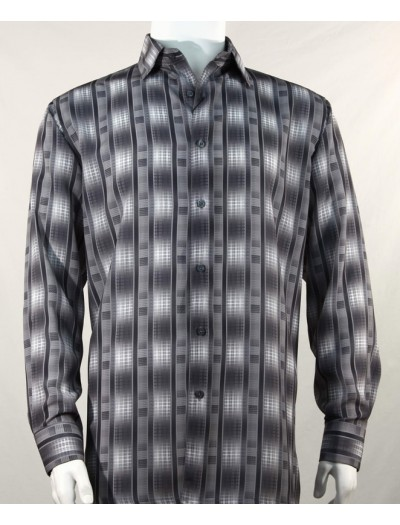 Bassiri L/S Button Down Men's Shirt - Pattern Stripe Black