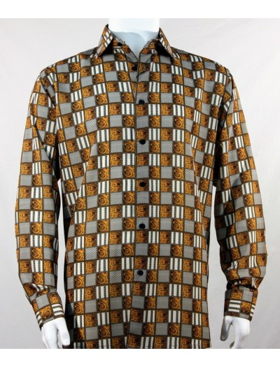 Bassiri L/S Button Down Men's Shirt - Squares Print / Copper