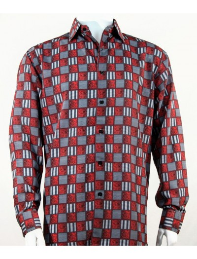 Bassiri L/S Button Down Men's Shirt - Squares Print / Red