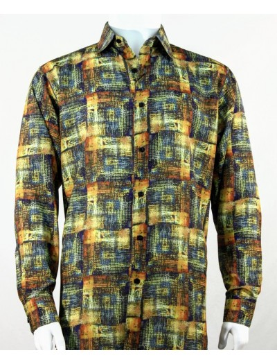 Bassiri L/S Button Down Men's Shirt - Pattern / Gold