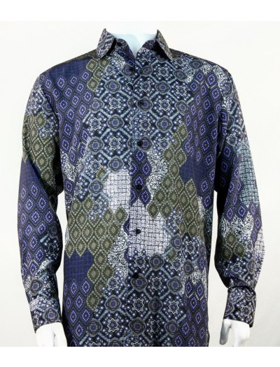 Bassiri L/S Button Down Men's Shirt - Design / Navy