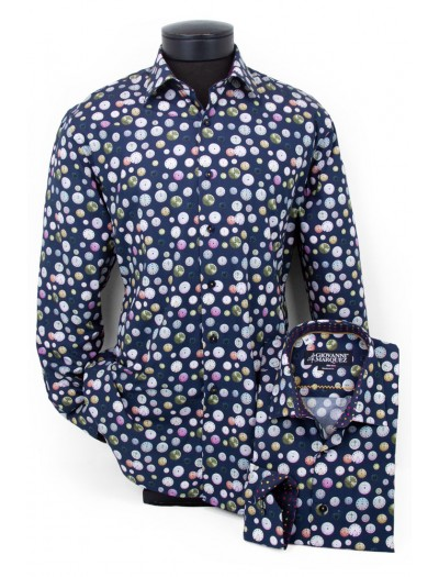Giovanni Marquez Men's European Shirt - Navy / Multi Circles a