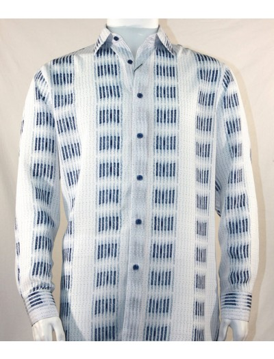 Bassiri L/S Button Down Men's Shirt - Navy Stripe Squares