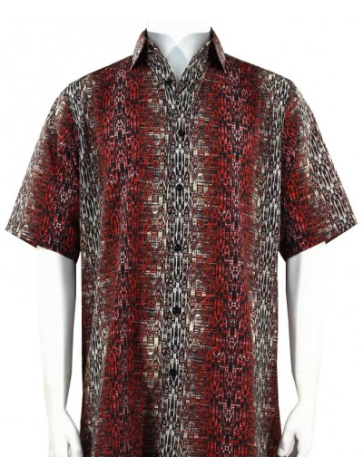 Bassiri S/S Button Down Men's Shirt - Abstract / Red
