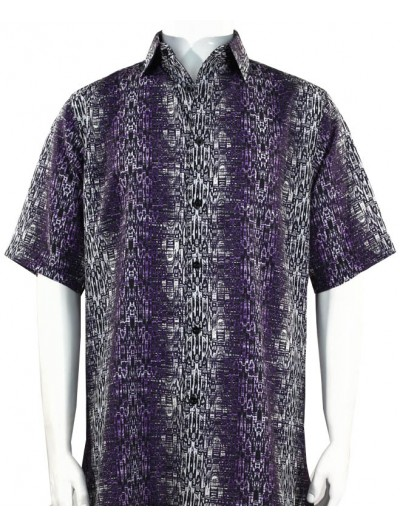 Bassiri S/S Button Down Men's Shirt - Abstract / Purple