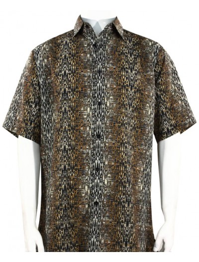 Bassiri S/S Button Down Men's Shirt - Abstract / Brown