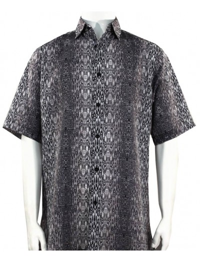 Bassiri S/S Button Down Men's Shirt - Abstract / Charcoal
