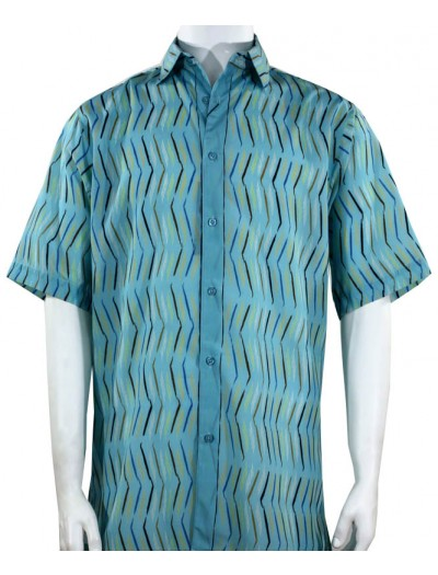 Bassiri S/S Button Down Men's Shirt - Pattern / Turquoise