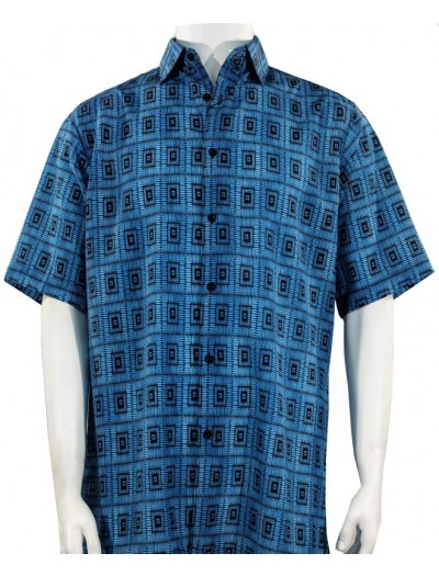 Bassiri S/S Button Down Men's Shirt - Squares / Turquoise